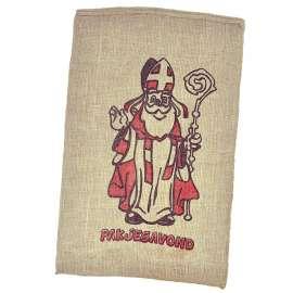 Jute zak Sinterklaas met pakjesavond opdruk 60 x 100 cm